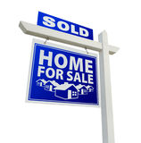 Casa venduta blu da vendere il segno del bene immobile su bianco Immagini Stock