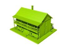 Casa verde aislada en un fondo blanco Imagen de archivo libre de regalías