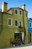 Casa verde con las flores en potes Fotografía de archivo