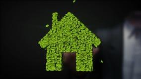 Casa verde del eco conmovedor del hombre de negocios hecha de las hojas stock de ilustración