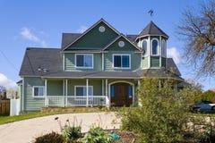 Casa verde del Victorian Immagine Stock