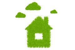 Casa verde e nuvens. Vetor Foto de Stock Royalty Free