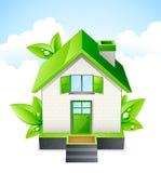 Casa verde, ecología y concepto ahorro de energía stock de ilustración