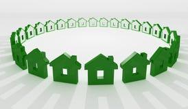 Casa verde en fondo del círculo stock de ilustración