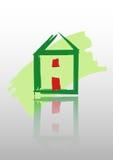 Casa verde, icono casero, bio ecología, aislada Fotos de archivo