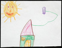 Casa verde sob o Sun Desenho da criança Foto de Stock