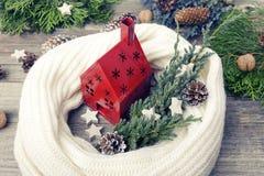Casa vermelha, envolvida em um lenço em um fundo das hortaliças e dos cones Fotos de Stock