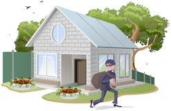 Casa vestido com robe do ladrão masculino burglaries Propriedade insurance Fotos de Stock Royalty Free