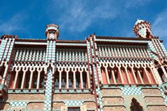 Casa Vicens is a house in Barcelona, designed by Antoni Gaudí. BARCELONA - MARCH 31, 2018: Casa Vicens is a house in Barcelona, designed by Antoni Gaudí royalty free stock image