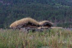 Casa vieja con la hierba fotos de archivo