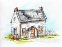 Casa vieja de la acuarela en un césped verde