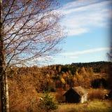 Casa vieja de Noruega del paisaje Fotos de archivo