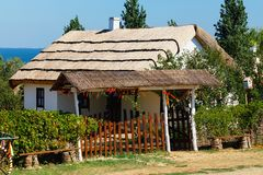 Casa vieja del pueblo de los cosacos de Kuban Rusia, territorio de Krasnodar Foto de archivo