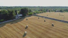 Casa vieja del whitr del trulli de Trullo en el campo en vuelo del abejón 4k de Italia metrajes