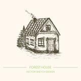 Casa vieja dibujada mano Ejemplo del vector del bosquejo Fotografía de archivo libre de regalías