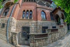 Casa vieja en el estilo de Brancovean, Bucarest, Rumania imagen de archivo libre de regalías
