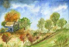 Casa vieja en una colina entre los árboles Autumn Landscape fotografía de archivo
