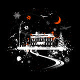 Casa vieja, noche del invierno Foto de archivo