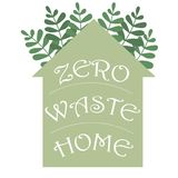 A casa waste zero hadwritten a rotula??o em uma silhueta da casa Ilustra??o do conceito do eco do vetor Vetor do ?cone da prote?? ilustração do vetor