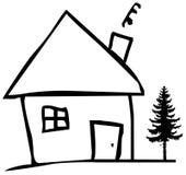 Casa y árbol Imagen de archivo libre de regalías