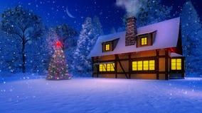 Casa y árbol de navidad rústicos acogedores en la noche que nieva Imagen de archivo libre de regalías