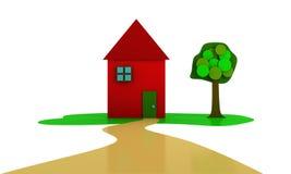 Casa y árbol rojos libre illustration
