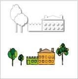 Casa y árboles Imágenes de archivo libres de regalías