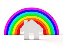 Casa y arco iris ilustración del vector