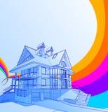 Casa y arco iris