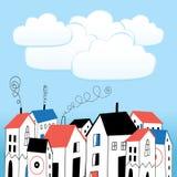 Casa y burbujas para el texto Foto de archivo