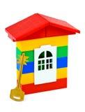 Casa y clave del juguete Fotos de archivo