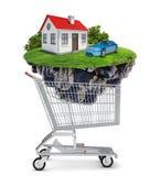 Casa y coche en carro de la compra ilustración del vector