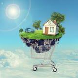 Casa y coche en la isla en carro de la compra stock de ilustración