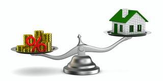 Casa y dinero en escalas Imagen de archivo