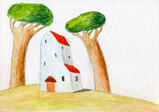 Casa y dos árboles Ilustración del Vector