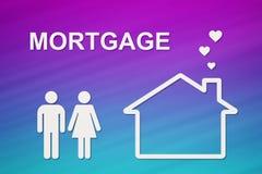 Casa y familia de papel con el texto de la hipoteca Imagen conceptual stock de ilustración