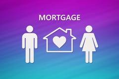 Casa y familia de papel con el texto de la hipoteca Imagen conceptual libre illustration