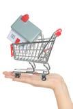 Casa y hogar para la venta en concepto del carro de la compra Imágenes de archivo libres de regalías
