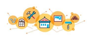 Casa y hogar que remodelan el proceso para la bandera y el jefe del sitio web libre illustration