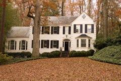 Casa y hojas blancas Foto de archivo libre de regalías