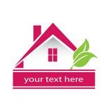 Casa y hojas modernas del logotipo Fotos de archivo