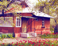 Casa y jardín con los tulipanes Foto de archivo libre de regalías
