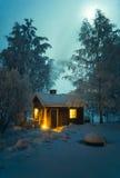 Casa y luna Fotografía de archivo libre de regalías