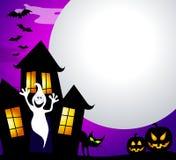 Casa y luna frecuentadas ilustración del vector