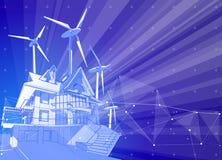 Casa y molinoes de viento modernos en un fondo azul rodeado por las redes digitales libre illustration