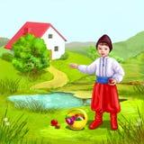 Casa y muchacho ucranianos libre illustration