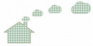 Casa y nubes de la chimenea Estilo lindo del bebé Foto de archivo libre de regalías