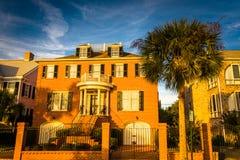 Casa y palmera a lo largo de Murray Drive en Charleston, Caro del sur Fotografía de archivo libre de regalías