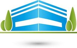 Casa y prado, árboles, logotipo de la casa de la familia, logotipo de Real Estate, icono stock de ilustración
