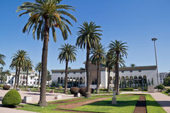 Casablanca center. Main square in Casablanca with government building, Morocco Royalty Free Stock Photography